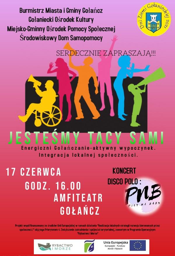 plakat promujący imprezę Jesteśmy tacy sami, na plakacie tańczący ludzie, wielokolorowy